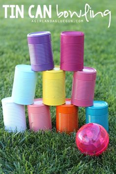 5 fun things to do with tin cans! – A girl and a glue gun 5 fun things to do with tin cans! – A girl and a glue gun,{SUMMER FUN} tin can bowling–fun upcycle game for kids to play Outdoor Activities For Kids, Summer Activities, Outside Games For Kids, Outdoor Fun For Kids, Family Activities, Backyard Games For Kids, Fun Games For Kids, Bowling Games For Kids, Outdoor Activities For Toddlers