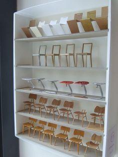 1:16 paper chair models at tokyobike Shoreditch during the  LDF 2015. 2015年ロンドンデザインフェスティバルのtokyobikeにて展示した、16分の1紙模型の椅子の試作たち #papermodel #onetosixteen