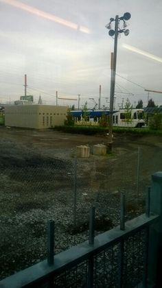 Inbound. Orange Line at OMSI station  doing station work
