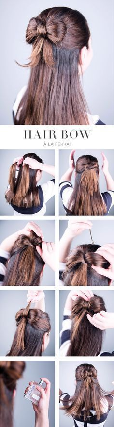 """Hair Bow How To: 1. Grab an even section of hair just above your ears. 2. Secure with a hair band, not pulling the hair through completely (creating a small half-bun). 3. Section the bun down the middle— these will be your bows. Fluff """"bow"""" apart with your hands + secure to inside with a bobby pin. Repeat with other side. 4. Grab some of the remaining hair underneath your """"bows"""" and tuck into a small hole you create at the crown of your head; bobby pin to secure. 5. Flip out the remaining…"""