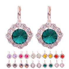 Crystal Stud Earrings For Women Brincos Big Rhinestone Earrings For Girls * You can get additional details at the image link.