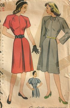 Simplicity 1508 Vintage 40s Sewing Pattern by studioGpatterns, $14.50