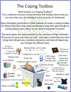 What i tend to keep around me at home anyhow. Coping Toolbox Infographic for Anxiety / Stress , etc. School Social Work, School Counseling Office, Elementary Counseling, Counseling Activities, Group Therapy Activities, Coping Skills Activities, Grief Counseling, Therapy Worksheets, Emotional Regulation