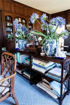 Blue and White (Chinoiserie Chic) Style Français, Chinoiserie Chic, Blue And White China, White Rooms, Blue Rooms, Tropical Houses, White Decor, My Living Room, Dark Wood