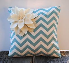 Zig Zag Village Blue/Natural pillow cover with felt flower, cushion, decorative throw pillow, decorative pillow, accent pillow, 18x18 pillow