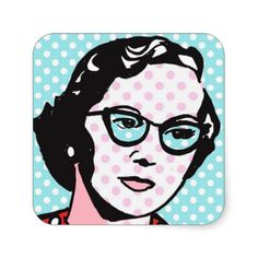 Hipster Chic Retro Pop Art Stickers--They're hipster chic, Baby! #Comics #PopArt #Hipster #Stickers #Geek #Zazzle