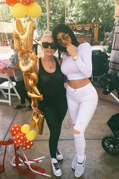 Kylie Jenner and a friend at North West's birthday party on June 15, 2015.