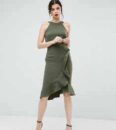 Paper Dolls Tall High Neck Midi Dress with Frill Detail - Green