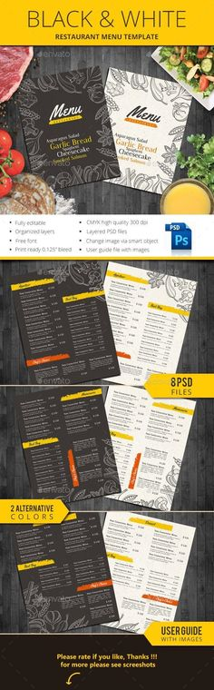 Buy Black & White Restaurant Menu by monggokerso on GraphicRiver. Black and White Restaurant Menu file features : Size Inches + Bleed area CMYK / 300 dpi Easy to edit text Well. Food Menu Template, Restaurant Menu Template, Restaurant Flyer, Restaurant Menu Design, Menu Templates, Print Templates, Kids Lunch For School, Healthy Lunches For Kids, Kid Lunches
