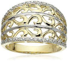 10k Yellow Gold Filigree Diamond Ring…