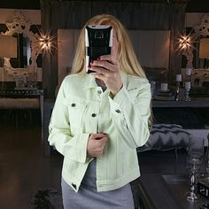 Light green demin jacket. New with tags Brand New, with tags attached. Unique and trendy. This light lime green jacket give a unique spin to the ordinary blue denim jackets. Roll up the sleeves and throw this trendy jacket over your favorite dress or with leggings and a t-shirt. Just grab it and go! Fun writing details on the jacket as seen in pics. Size: Small  Thank you for peeking into my closet!!! Privacy Wear Jackets & Coats Jean Jackets