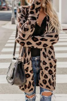 Collarless Flap Pocket Leopard Printed Cardigans Coat – Ecoeeve All The Leopard Things To Buy Right Now Cardigans For Women, Coats For Women, Fall Outfits, Casual Outfits, Fashion Outfits, Pink Outfits, Mom Outfits, Women's Casual, Jean Outfits