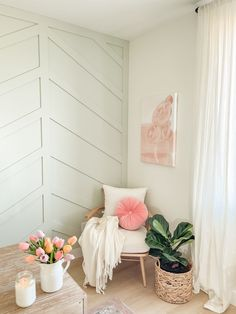 The Herringbone Wall in My Office is Painted! Diy Room Decor, Nursery Decor, Bedroom Decor, Girls Bedroom, Home Decor, Living Room Modern, Home Living Room, Diy Interior, Interior And Exterior