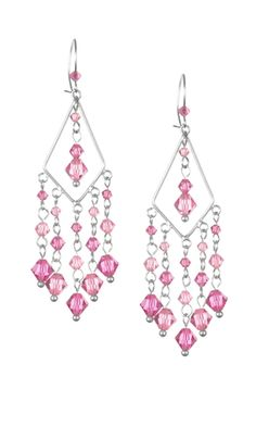 Earrings with Pink Swarovski Crystal Beads and Diamond-Shaped Sterling Silver Drop with Loops