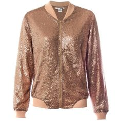 Sans Souci Rose gold sequin bomber jacket ($69) ❤ liked on Polyvore featuring outerwear, jackets, rose gold, sans souci, sequin jacket, brown bomber jacket, fleece-lined jackets and bomber jacket