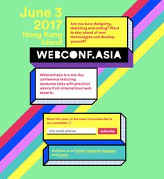 Colorful launching soon page with a hint of brutalism announcing the upcoming Webconf.asia event.