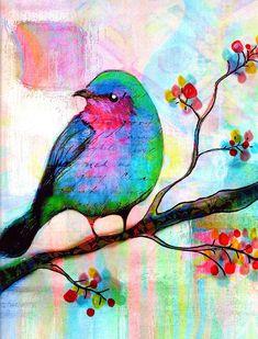 Pájaro ave canora de impresión flores árbol por RobinMeadDesigns