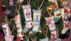 Cross Stitch Stockings Ornaments