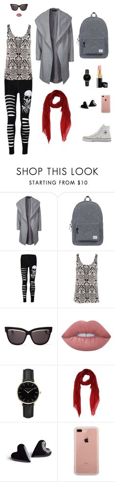 """casual skull"" by leina-elansary on Polyvore featuring ONLY, Herschel Supply Co., Converse, H&M, Christian Dior, Lime Crime, ROSEFIELD and Belkin"