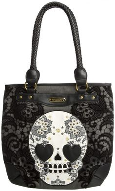 LOUNGEFLY SKULL LACE TOTE BAG