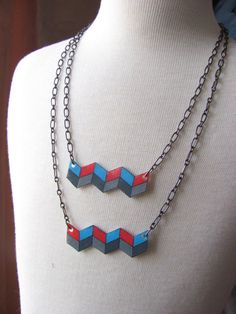 geometric shrink plastic necklace double by LinesNShapesJewelry, $25.00