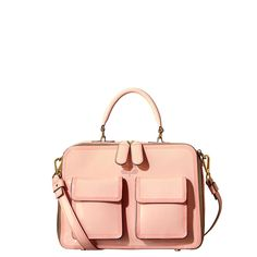 Orla Kiely: Glossy patent leather structured bag with two small pockets on front.
