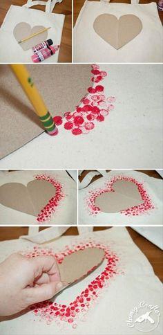 Pocka dot bag craft!! 1 pencil One tote bag One piece of cardboard shaped like a heart