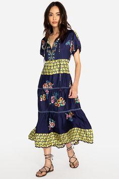 7221e7ccc3 ZAKINA DRESS Patchwork Designs, Dress Images, Floral Motif, Floral Prints,  Ruffle Sleeve