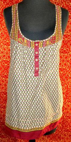 I H81 burgundy mini floral soft thin cotton sleeveless blouse M (T35-02I5F) #IH81 #Blouse #Casual