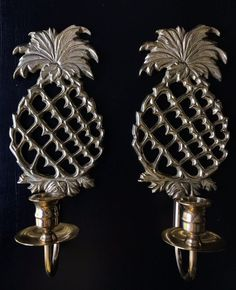 Williamsburg Virginia Metalcrafters Pair Brass Pineapple Wall Sconces