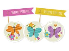 Bright Butterflies Toppers & Flags for DIY baby shower.  Dress up cupcakes, treats and baby shower favors with these bright, garden-inspired accents. Customize the colors and text, then print and trim to size. See coordinating decor and invite.