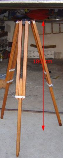 Homemade wooden tripod.