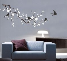 Cherry Blossom Wall Decal Cherry Tree Branch with Birds - Vinyl Wall Art Tree Wall Decals.  The branch is 23x50