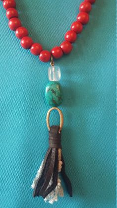 Upcycled Beaded Leather Tassel Necklace by 205maple on Etsy