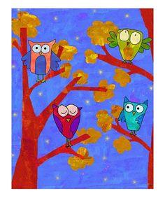 kid art/ owls- any medium- collage