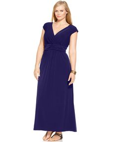 NY Collection Plus Size Ruched Empire Maxi Dress | macys.com