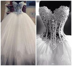 Bling Ball Gown Wedding Dress Beads Rhinestones Tulle Crystal Pearls Bridal Gown