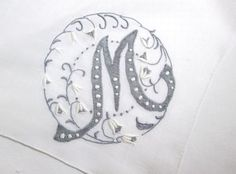 Vintage Monogram M Handkerchief Hanky Hand Embroidered Applique Initial Personalized Wedding Hankie Embroidery Gray White 14""