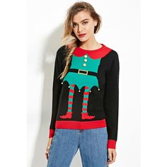 Forever 21 Women's  Elf Graphic Bells Sweater ($25) ❤ liked on Polyvore featuring tops, sweaters, long sleeve tops, forever 21 sweaters, lightweight black sweater, graphic tops and black top