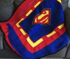 """Superman Crochet Blanket/ 54""""W x 46""""T/ easy"""