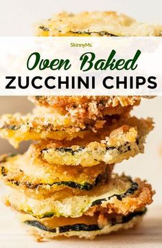 These oven baked zucchini chips are low in fat and calories, and they're best described with one, simple word: yummy. by lauren These oven baked zucchini chips are low in fat and calories, and they're best described with one, simple word: yummy. by lauren Recetas Zuchinni, Zuchinni Recipes, Bake Zucchini, Baked Zucchini Chips, Zucchini Bread, Zucchini Noodles, Zuchinni Chips, Low Carb Recipes, Snack Recipes
