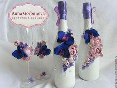 """Свадебные аксессуары ручной работы. Свадебные бокалы для шампанского """"Орхидеи…"""