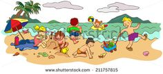 Group of children boys and girls are playing on the beach sea shore in summer holiday vacation, create by cartoon vector