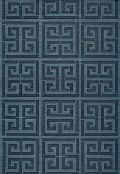 FSchumacher Wallpaper 5005691 Greek Key Sisal Peacock