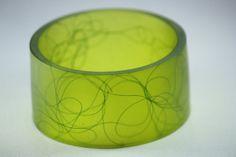Resin Bangle Bracelet in Lime Green by Beadevolution on Etsy, $48.00