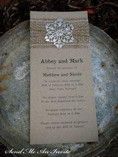 Cute Wedding Invitation Rustic Hessian