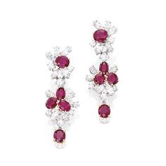 Pair of Platinum, 18 Karat Gold, Ruby and Diamond Pendant-Earclips, Harry Winston                                                           ...