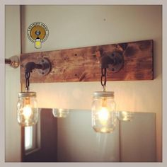 Rustic/ Industrial/ Modern Wood Handmade 3 Mason Jars by Lulight Rustic Bathroom Lighting, Bathroom Light Fixtures, Rustic Lighting, Vanity Lighting, Wall Fixtures, Lighting Ideas, Farmhouse Lighting, Kitchen Lighting, Modern Lighting