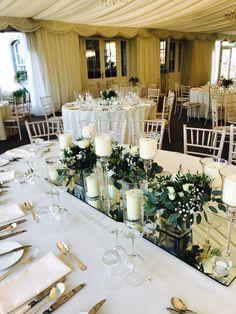 Wedding Top Table Floral Arrangement on a Mirror Base Wedding Top Table, Wedding Table Centerpieces, Wedding Decorations, Wedding Ideas, Table Decorations, Dinner Table, Floral Arrangements, Table Settings, Base