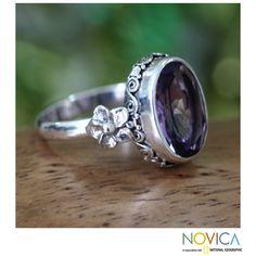 Novica Handmade Sterling Silver 'Frangipani Allure' Amethyst Ring (Indonesia) (5), White